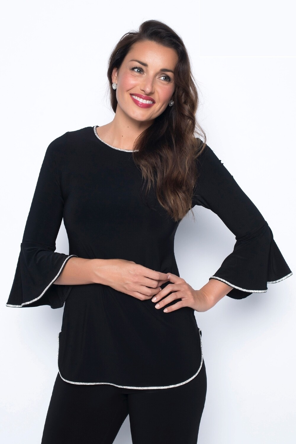 Frank Lyman Elegant Jersey Top With Rhinestones in Black