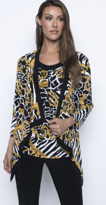 Frank Lyman Printed Knit  Cardigan in Gold and Black