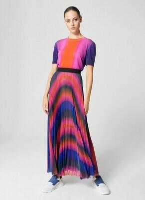Escada Plisse Maxi Skirt in Multicolrs