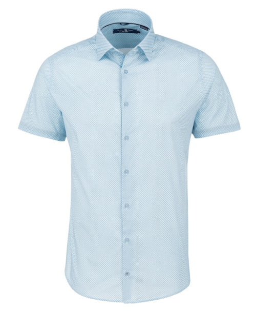 Stone Rose Light Blue Geometric Print Short Sleeve Shirt