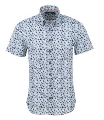 Stone Rose Navy Floral Print Short Sleeve Shirt