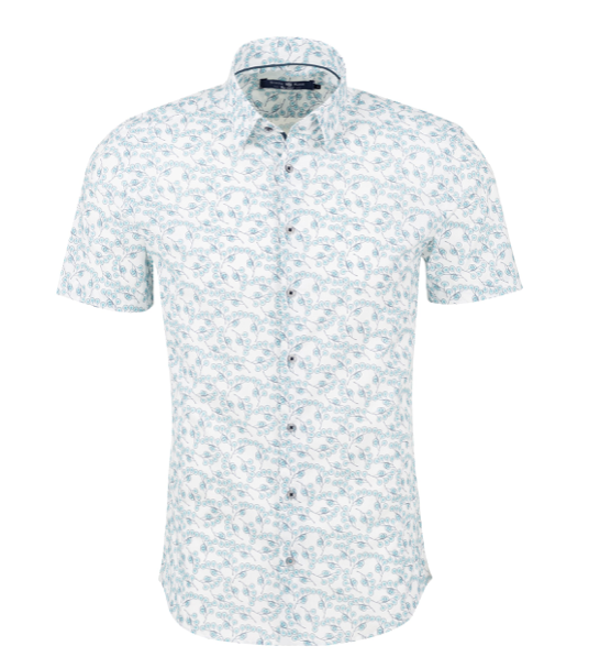 Stone Rose White Leaf Print Short Sleeve Shirt