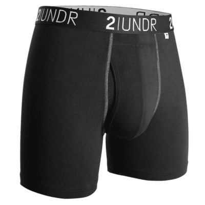 2UNDR Swing Shift- 6IN BOXER BRIEF in Black/Grey