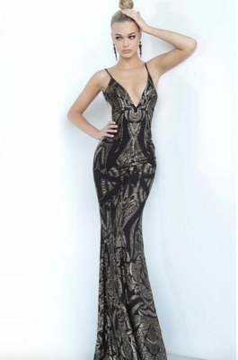 Jovani Beaded Plunging V-Neck Dress