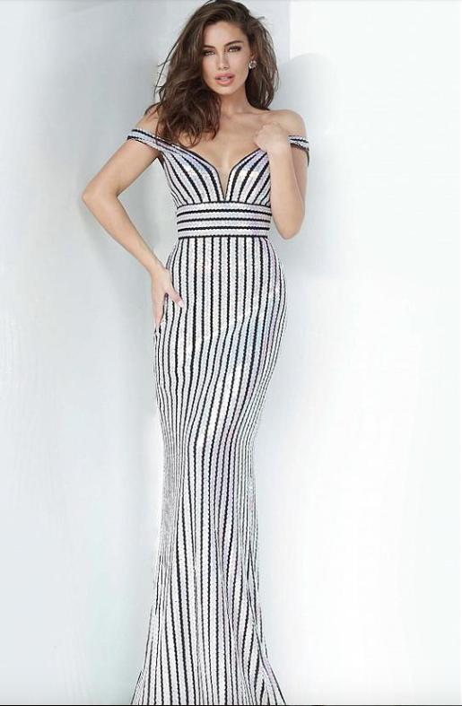 Jovani Off-Shoulder Stripped Sequin Sheath Dress