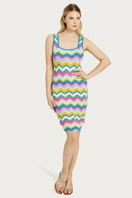 Milly Chevron Stripe Fitted Dress