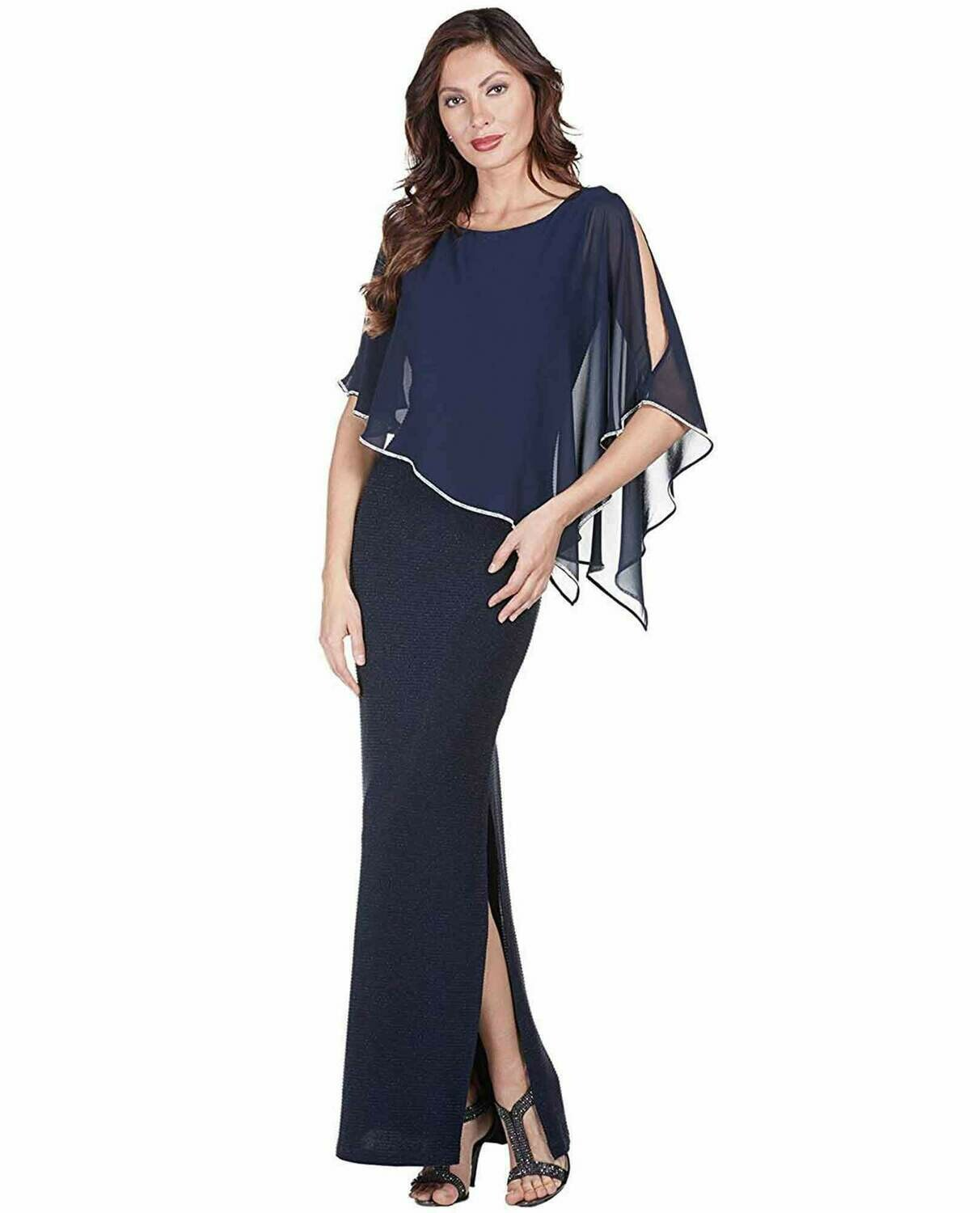 Frank Lyman Sleeveless Dress With Asymmetrical Capelet In Navy