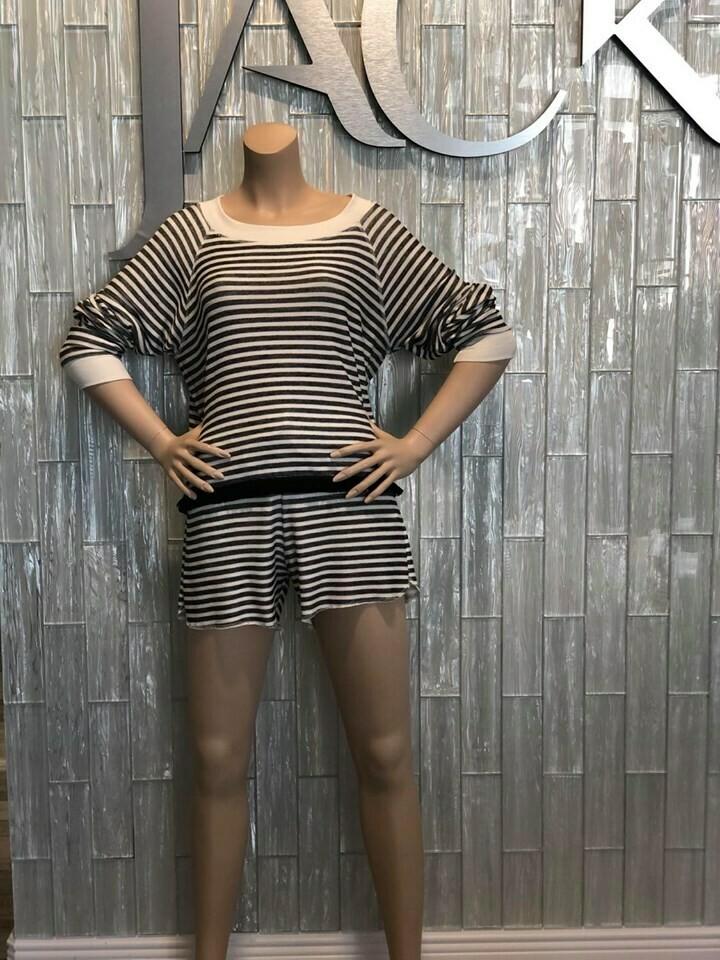 Jackie Z Lightweight Sweatshirt In Black and Off White