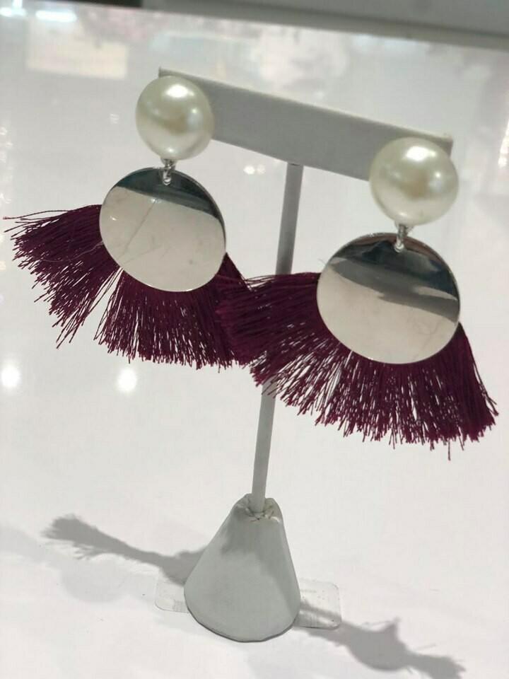 Jackie Z Fringe Drop Earrings In Wine