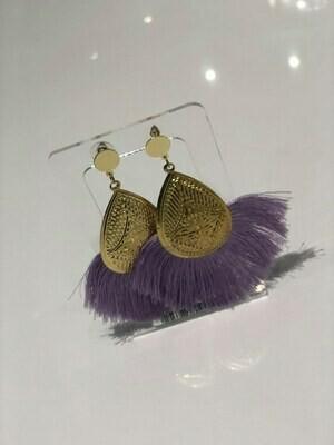 Jackie Z Fringe Earrings In Purple