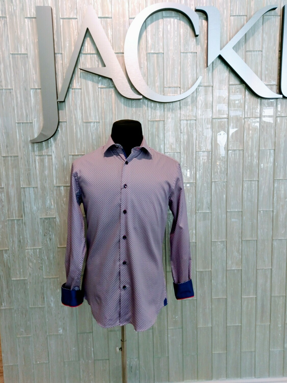 Jackie Z Men's Dress Shirt Spring 2020 White Background With Blue and Pink Print