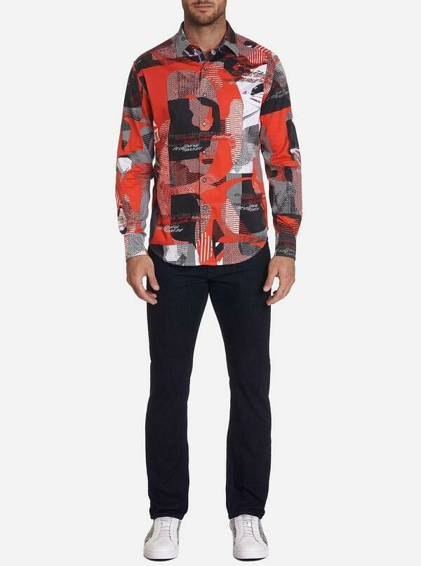 Robert Graham Start Your Engine Sport Shirt in Black, Red and White