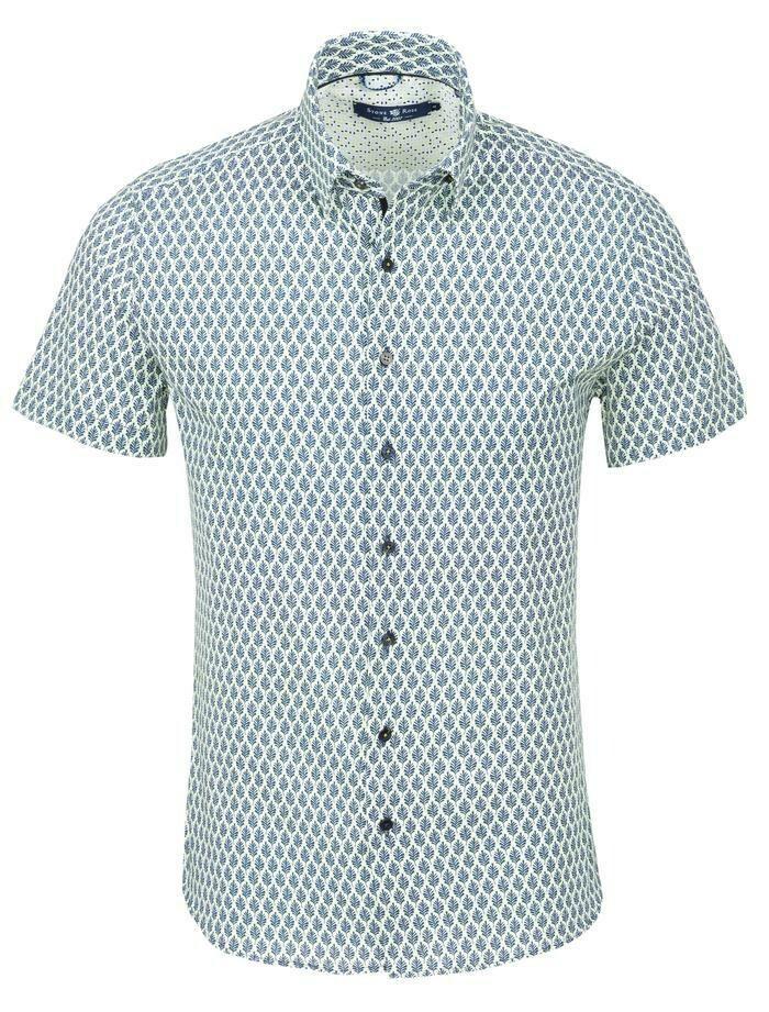 Stone Rose Navy Leaf Short Sleeve Shirt