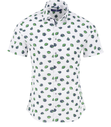 Stone Rose Green Novelty Print Short Sleeve Shirt