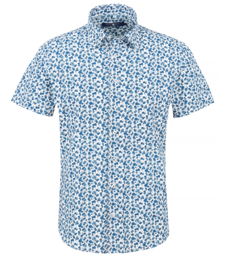 Stone Rose Blue Floral Print Short Sleeve Shirt
