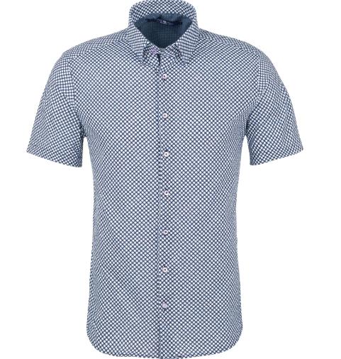 Stone Rose Light Blue Geometric Knit Short Sleeve Shirt