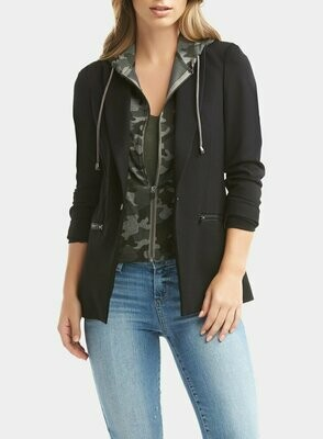 Tart Collections Save Dickey Jacket in Black With Camouflage Removable Hood