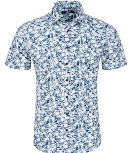 Stone Rose Navy Ocean Print Knit Short Sleeve Shirt