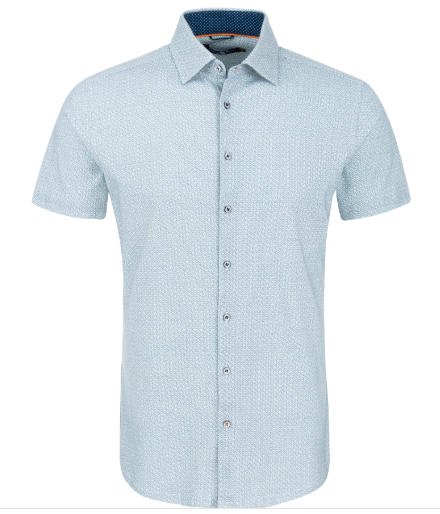 Stone Rose Navy Bone Print Knit Short Sleeve Shirt