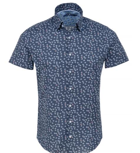 Stone Rose Navy Butterfly Print Short Sleeve Shirt