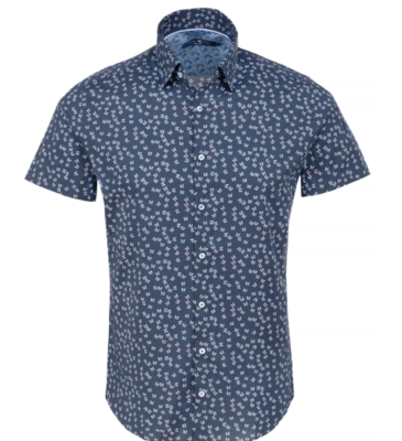 Stone Rose Navy Butterfly Print Short Sleeve Shirt
