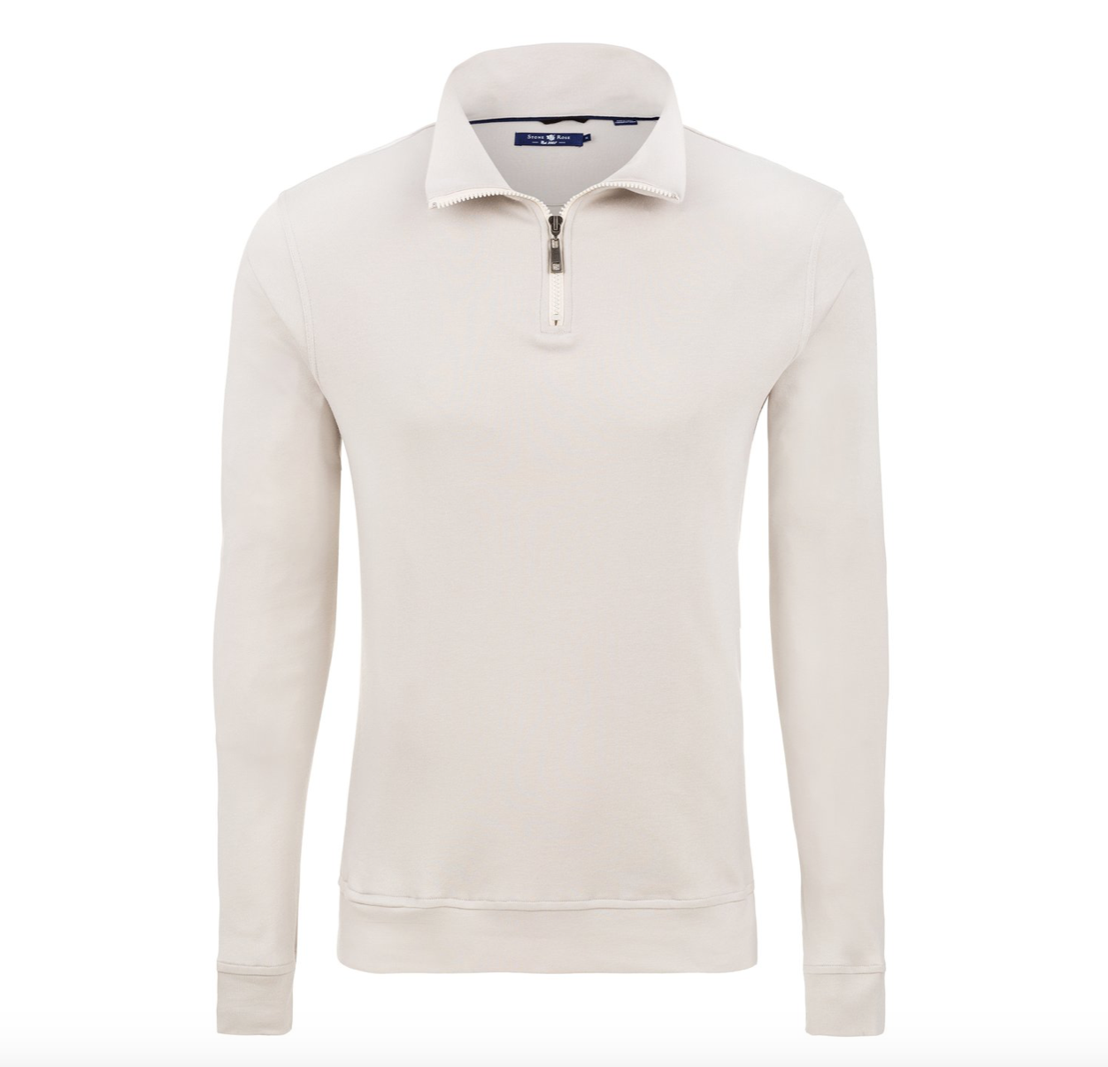 Stone Rose Light Beige Micro Modal Jersey Quarter Zip