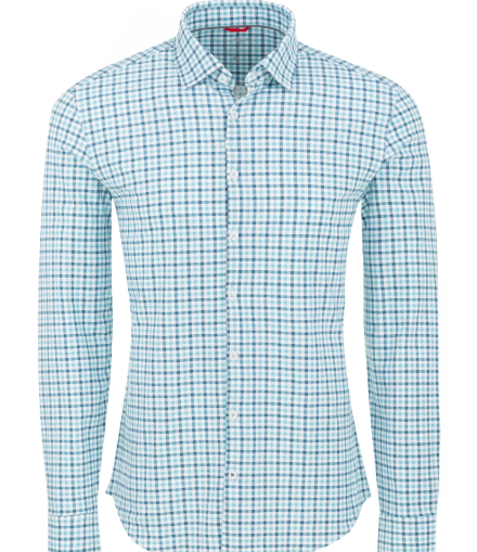 Stone Rose Teal Check Performance Knit Long Sleeve Shirt
