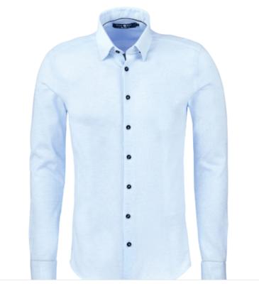 Stone Rose Light Blue Texture Knit Long Sleeve Shirt