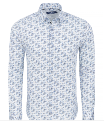 Stone Rose Blue Geometric Knit Long Sleeve Shirt