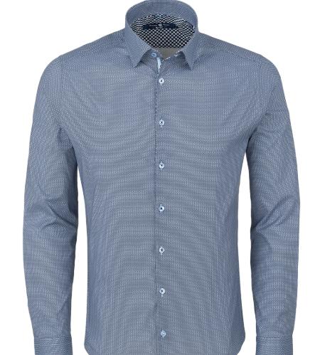Stone Rose Blue Geometric Print Long Sleeve Shirt