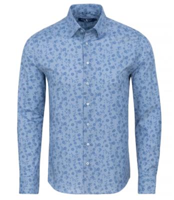 Stone Rose Blue Floral Herringbone Long Sleeve Shirt