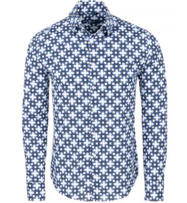Stone Rose Navy Retro Geometric Print Long Sleeve Shirt