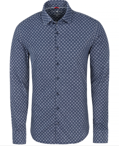 Stone Rose Navy Geometric Knit Performance Long Sleeve Shirt