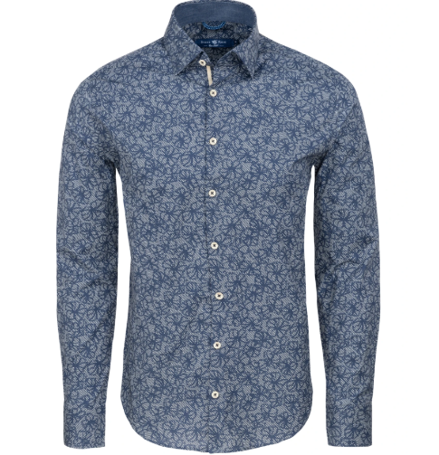 Stone Rose Navy Floral Print Long Sleeve Shirt