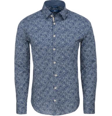 Stone Rose Navy Floral Print Long Sleeve Shirt