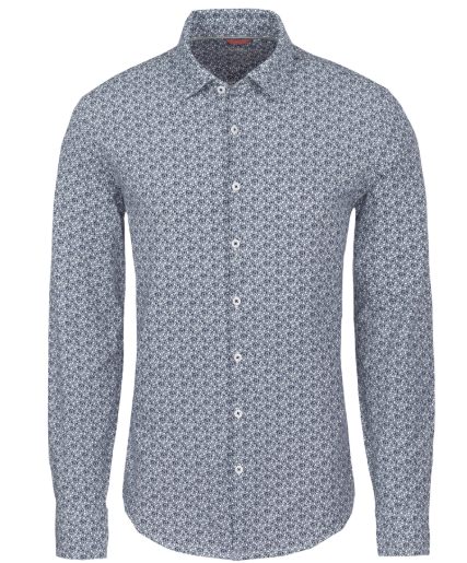 Stone Rose Navy Floral Knit Performance Long Sleeve Shirt