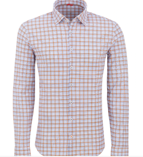 Stone Rose Orange Check Performance Knit Long Sleeve Shirt