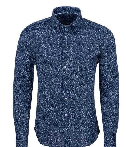 Stone Rose Navy Novelty Print Long Sleeve Shirt