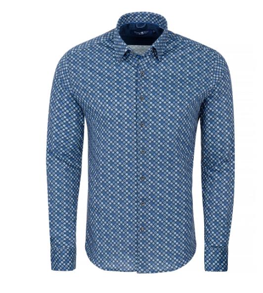 Stone Rose Navy Geometric Knit Long Sleeve Shirt