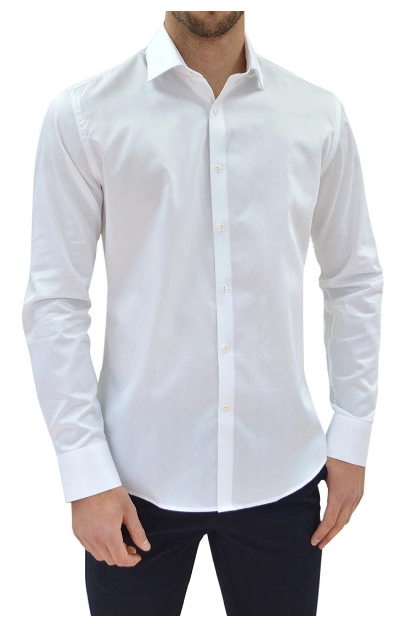 Stone Rose Herringbone Button Up White Long Sleeve Shirt
