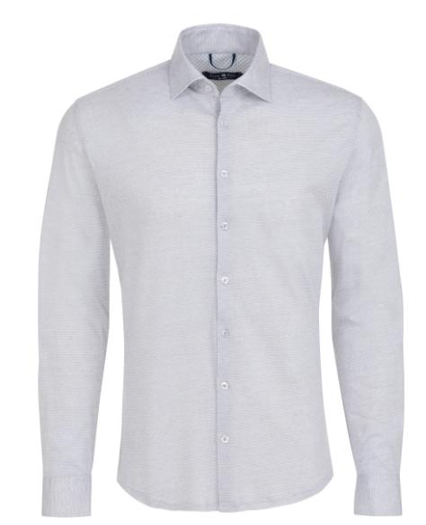 Stone Rose White Jacquard Knit Long Sleeve Shirt