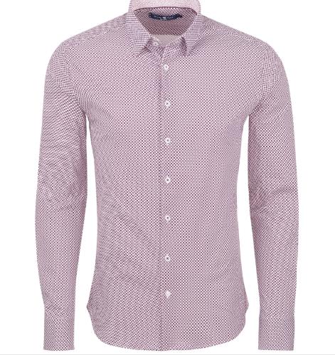 Stone Rose Berry Geometric Knit Long Sleeve Shirt