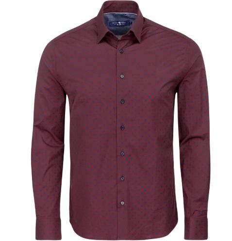 Stone Rose Burgundy Polka Dot Long Sleeve Shirt