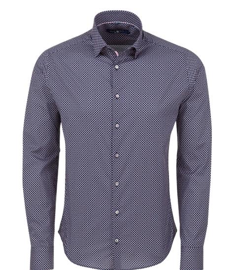 Stone Rose Navy Geometric Printed Knit Long Sleeve Shirt