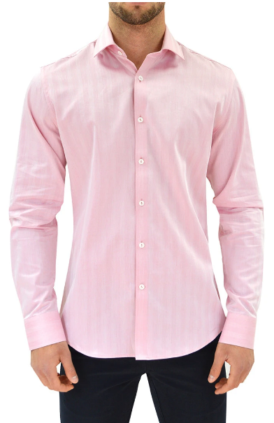 Stone Rose Red Herringbone Button Up Long Sleeve Shirt