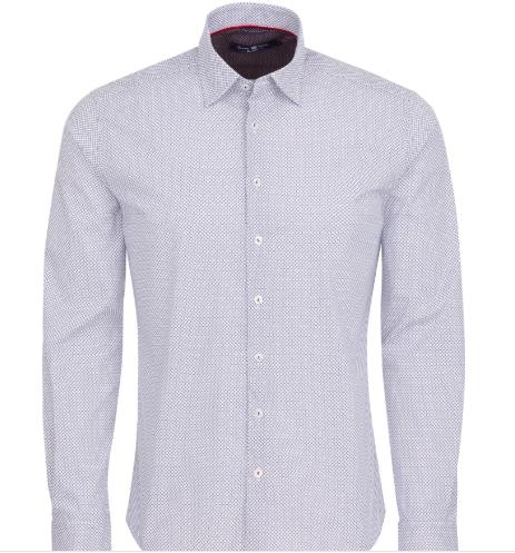 Stone Rose White Geometric Print Long Sleeve Shirt