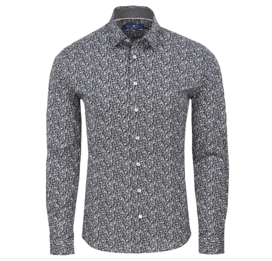 Stone Rose Black Floral Print Knit Long Sleeve Shirt