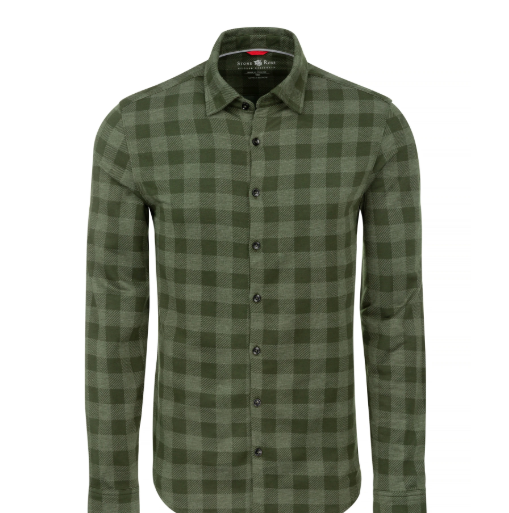 Stone Rose Olive Check Knit Performance Long Sleeve Shirt