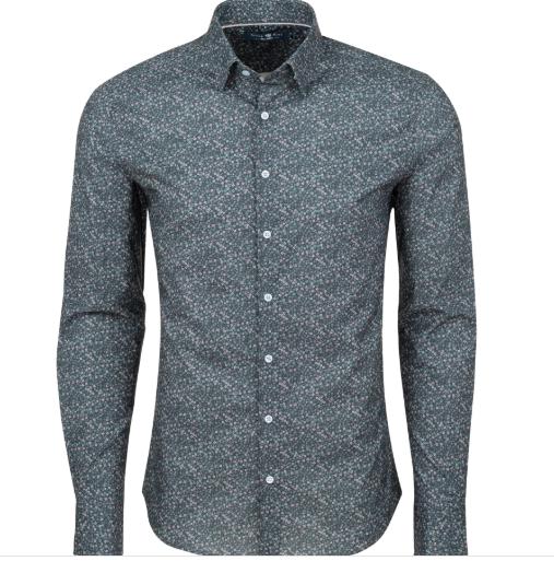 Stone Rose Grey Ditsy Print Knit Long Sleeve Shirt