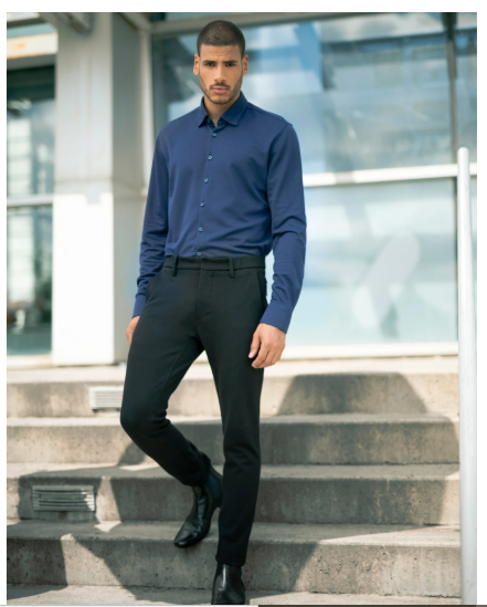 Stone Rose Navy Texture Knit Performance Long Sleeve Shirt